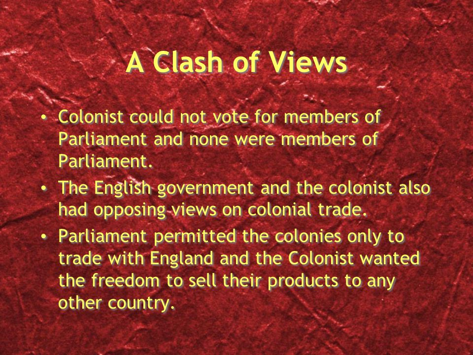 A Clash of Views Colonist could not vote for members of Parliament and none were members of Parliament.