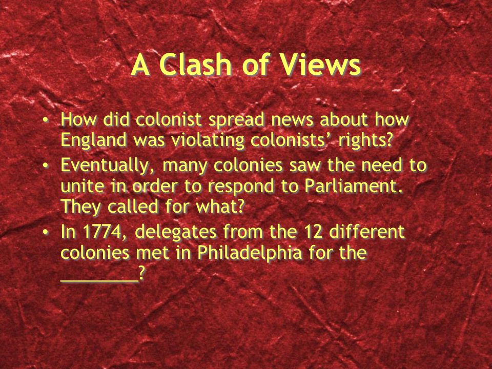A Clash of Views How did colonist spread news about how England was violating colonists' rights