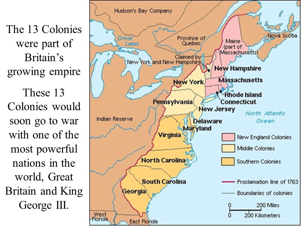 The 13 Colonies were part of Britain's growing empire