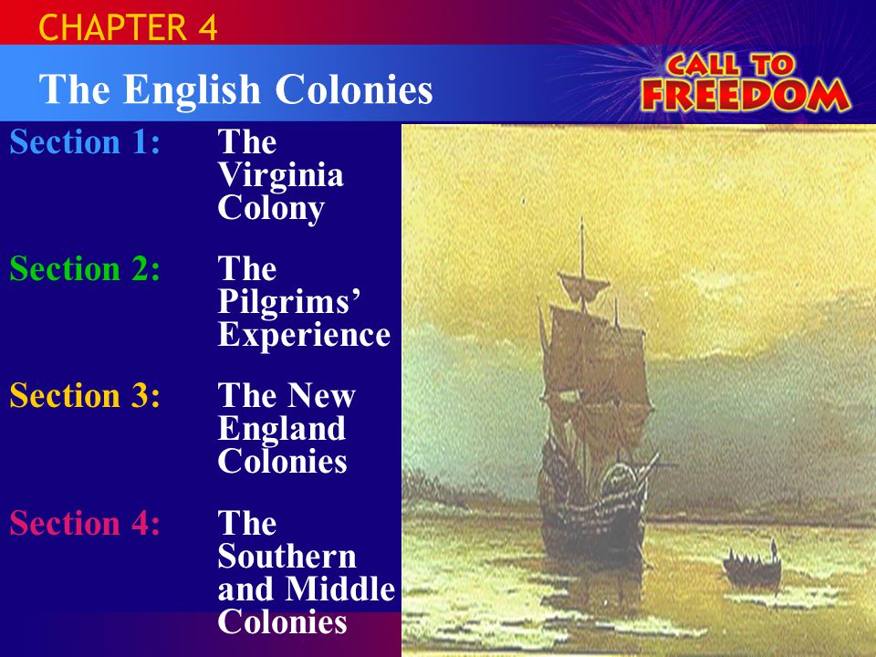 The English Colonies CHAPTER 4 Section 1: The Virginia Colony