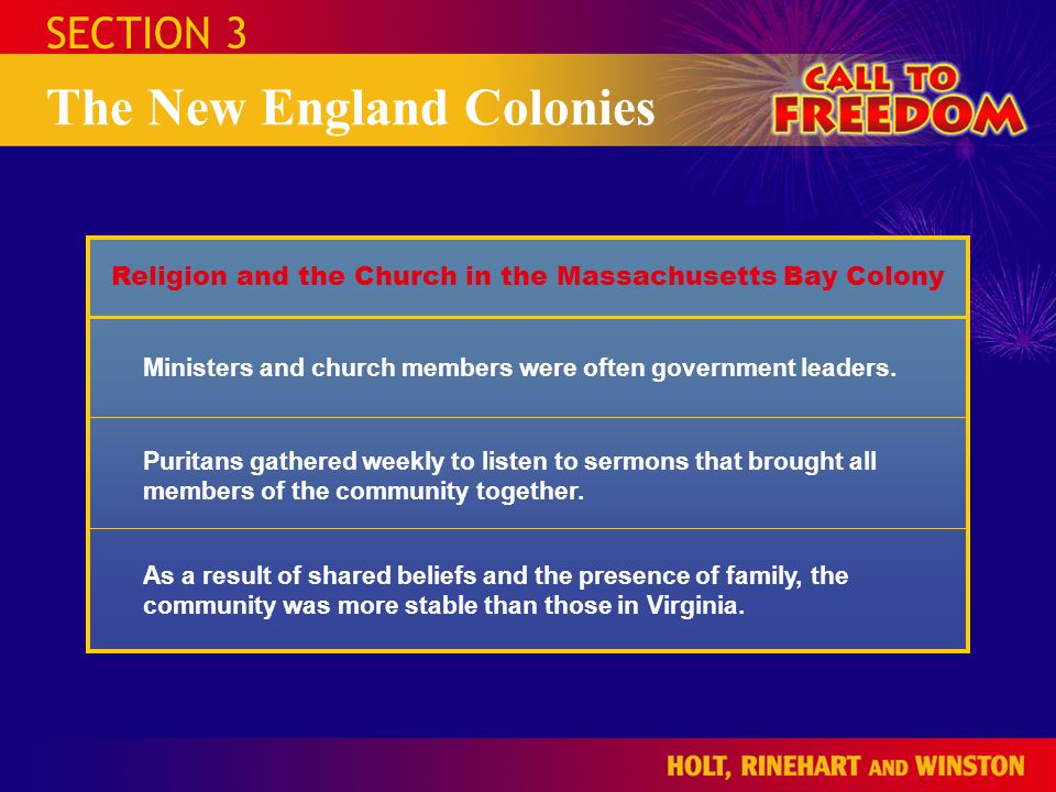 Religion and the Church in the Massachusetts Bay Colony
