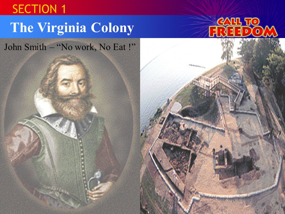 SECTION 1 The Virginia Colony John Smith – No work, No Eat !
