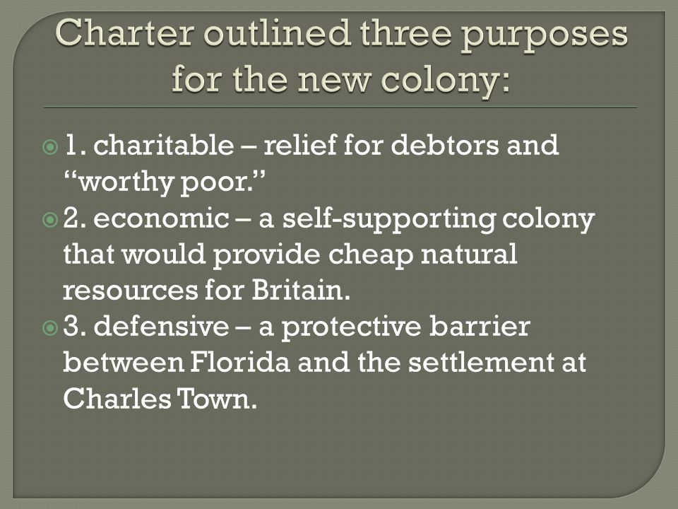 Charter outlined three purposes for the new colony: