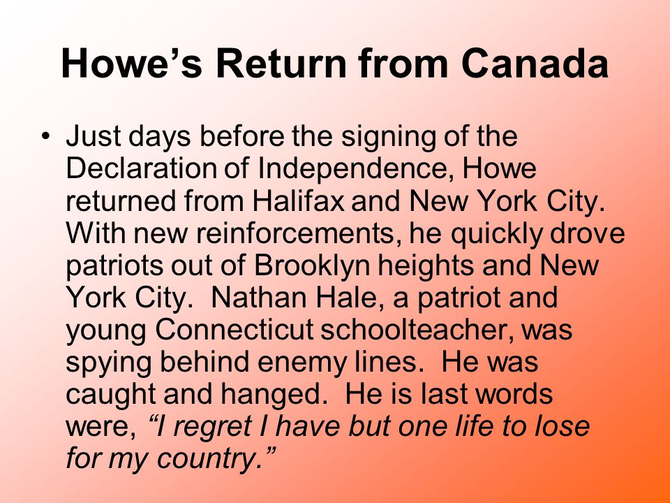 Howe's Return from Canada