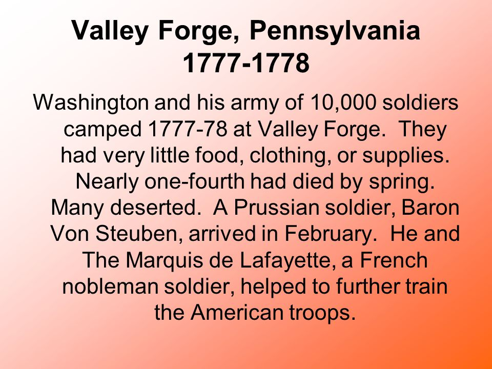 Valley Forge, Pennsylvania 1777-1778