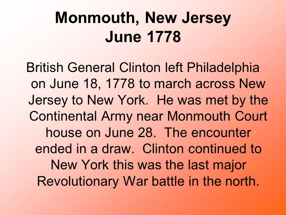 Monmouth, New Jersey June 1778