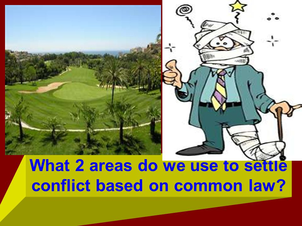 What 2 areas do we use to settle conflict based on common law