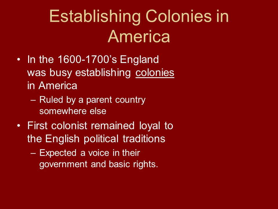Establishing Colonies in America