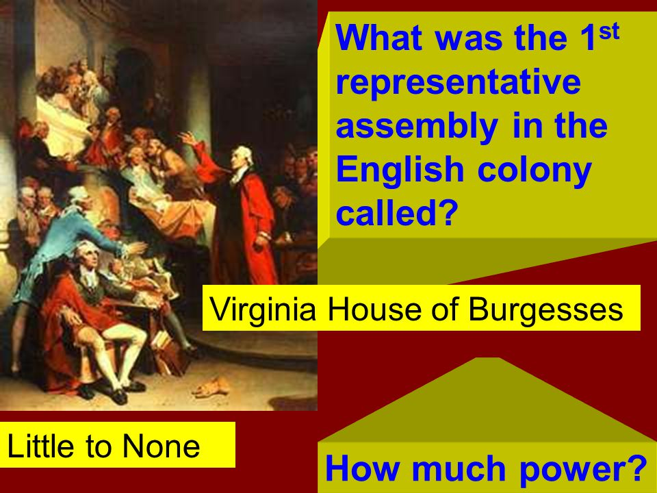 What was the 1st representative assembly in the English colony called