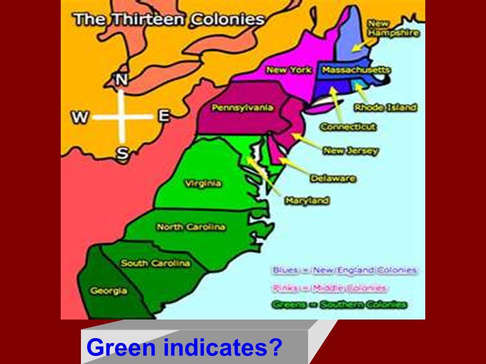 Green indicates