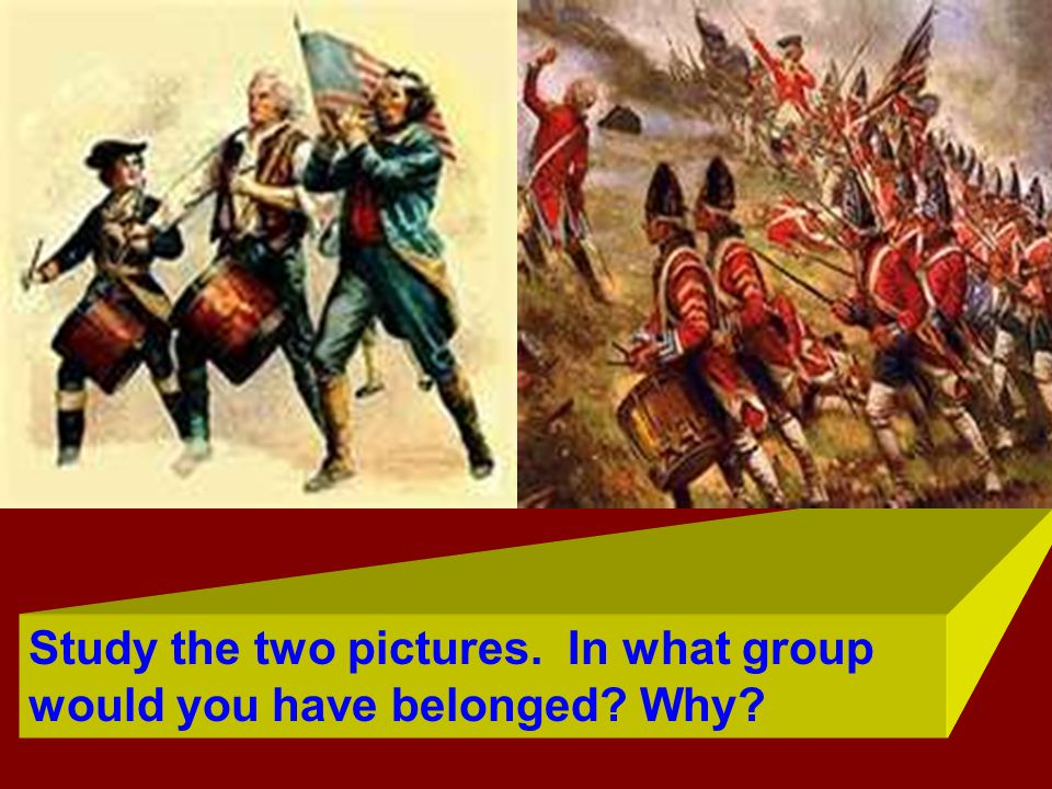 Study the two pictures. In what group would you have belonged Why