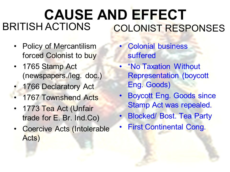 CAUSE AND EFFECT BRITISH ACTIONS COLONIST RESPONSES