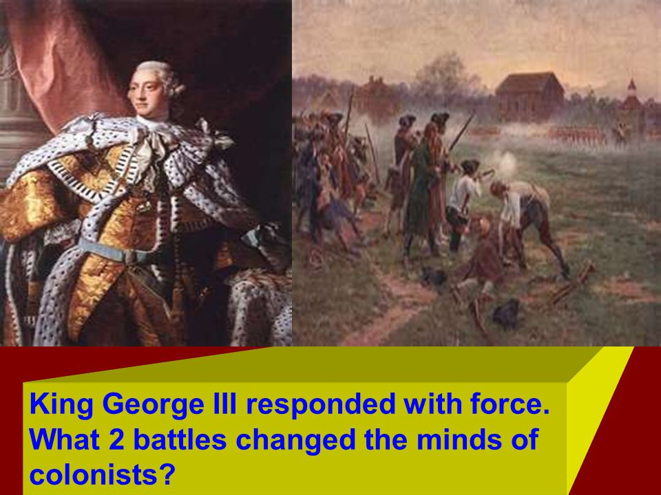Battle of Lexington and Concord changed the way many viewed the loyalty to England. British soldiers shooting Americans.