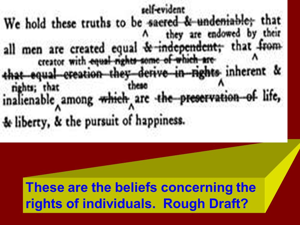 These are the beliefs concerning the rights of individuals. Rough Draft