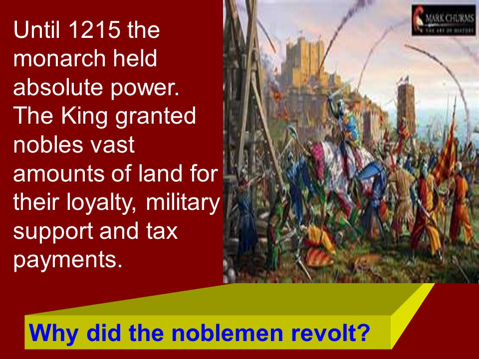 Until 1215 the monarch held absolute power
