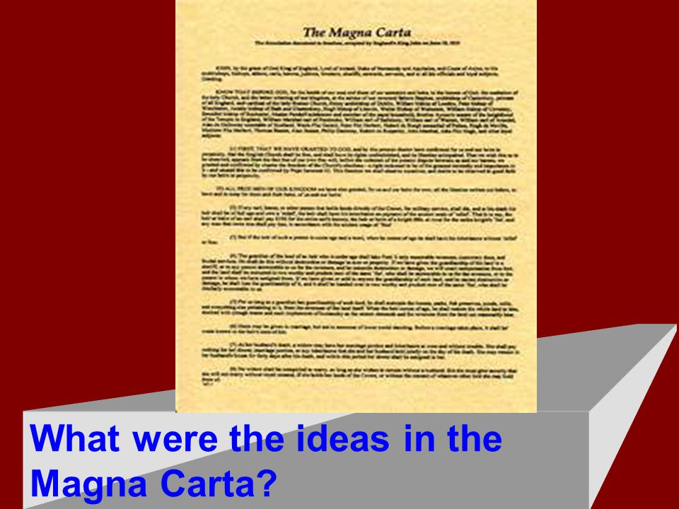 What were the ideas in the Magna Carta