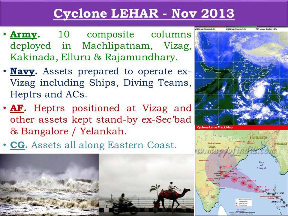 Cyclone LEHAR - Nov 2013 Army. 10 composite columns deployed in Machlipatnam, Vizag, Kakinada, Elluru & Rajamundhary.