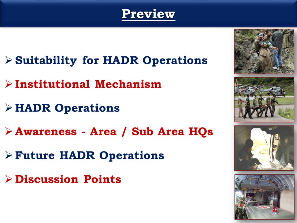 Preview Suitability for HADR Operations Institutional Mechanism