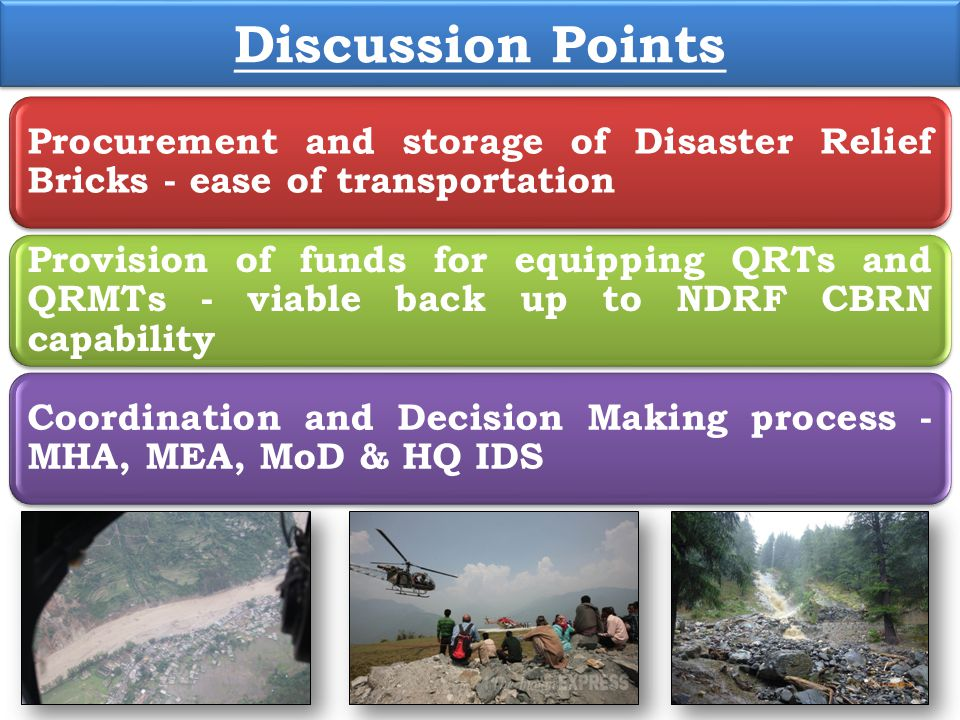 Discussion Points Procurement and storage of Disaster Relief Bricks - ease of transportation.