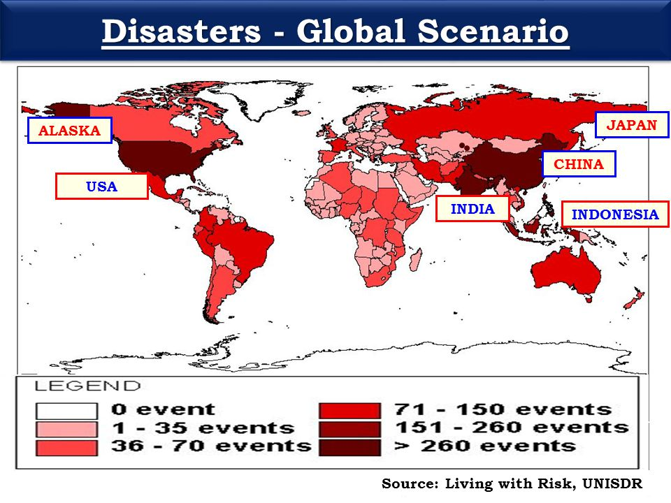Disasters - Global Scenario Source: Living with Risk, UNISDR