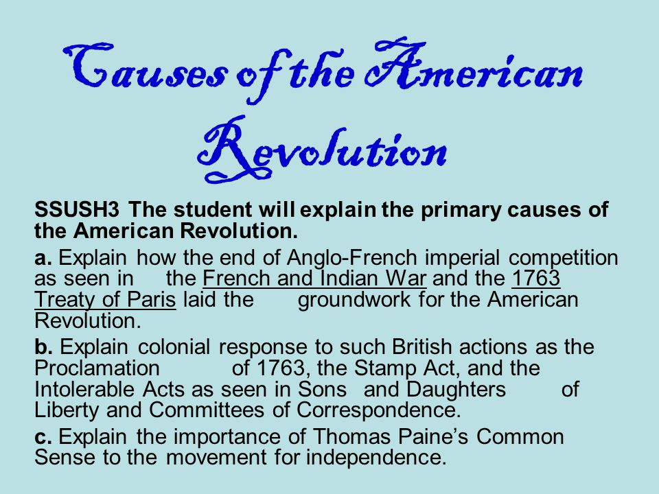 Causes of american independence movement