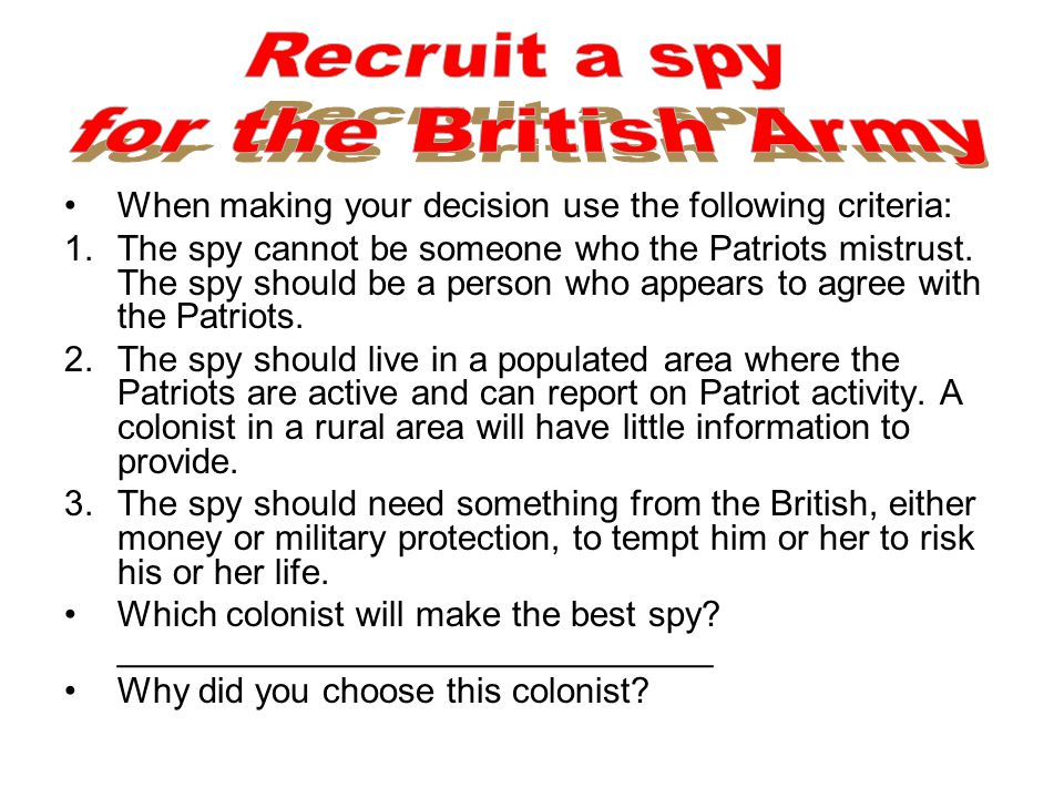Recruit a spy for the British Army