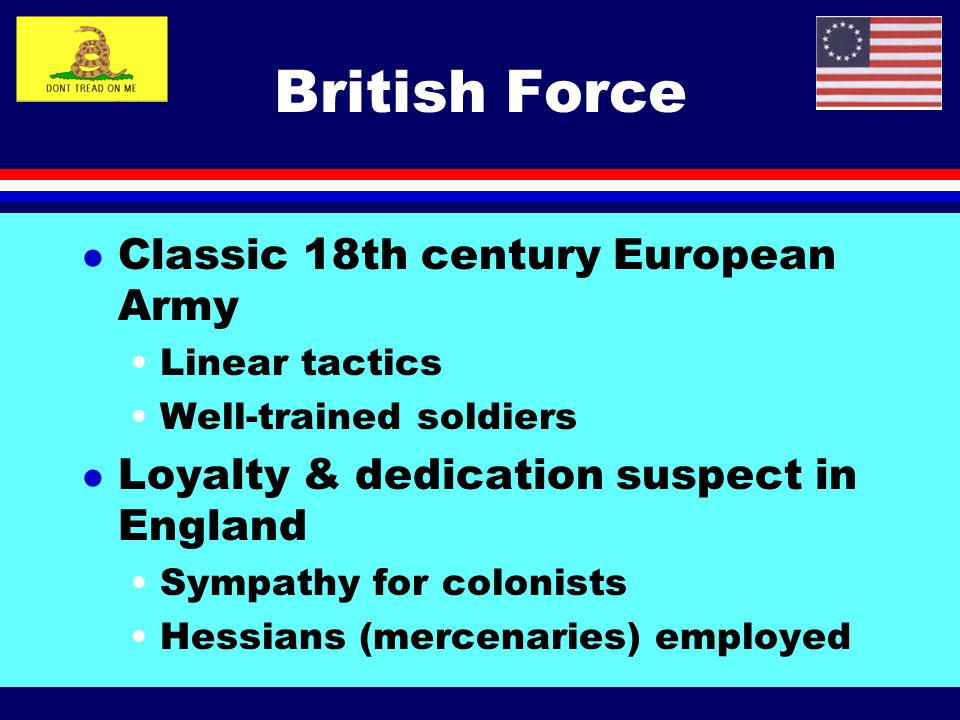 British Force Classic 18th century European Army