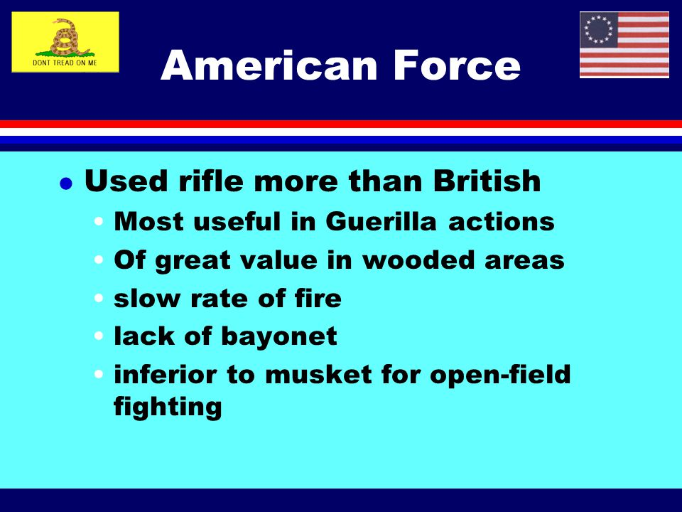 American Force Used rifle more than British