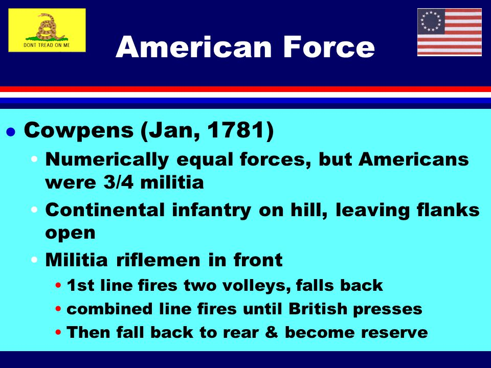 American Force Cowpens (Jan, 1781)