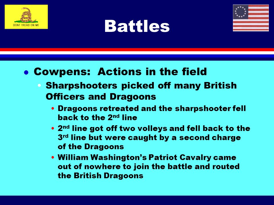 Battles Cowpens: Actions in the field