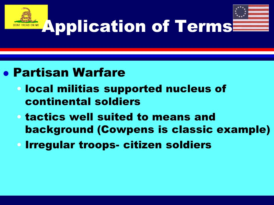 Application of Terms Partisan Warfare