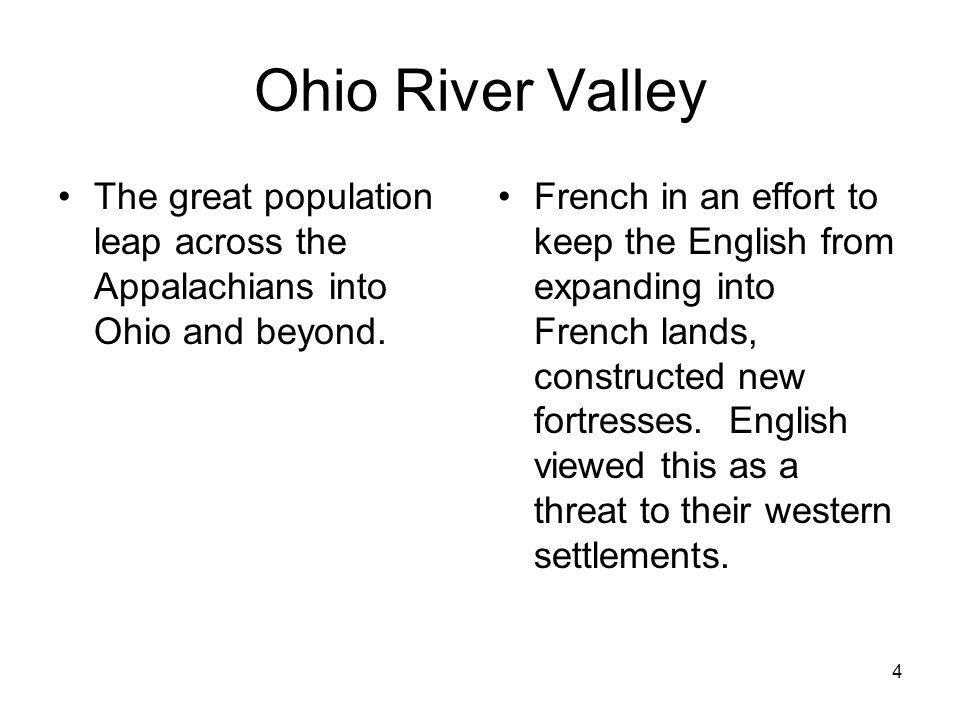 Ohio River Valley The great population leap across the Appalachians into Ohio and beyond.