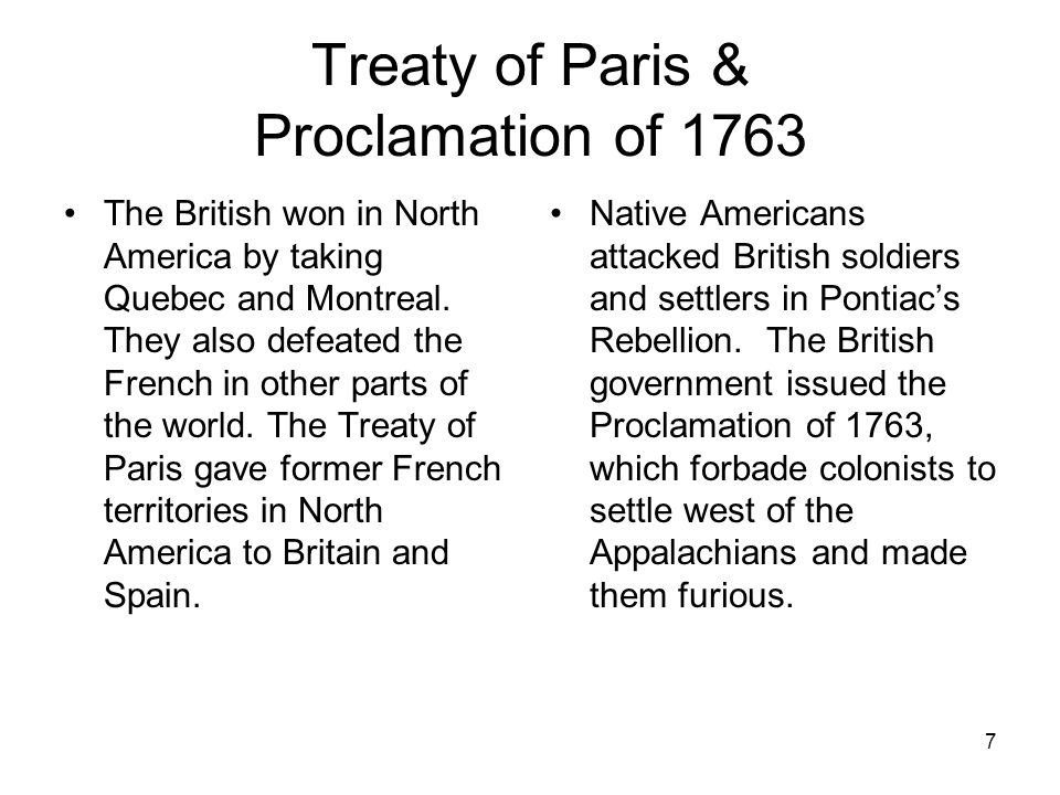 Treaty of Paris & Proclamation of 1763