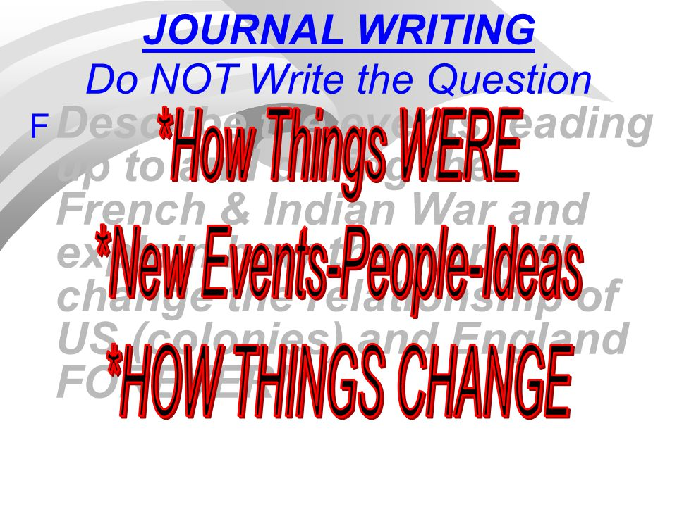 JOURNAL WRITING Do NOT Write the Question