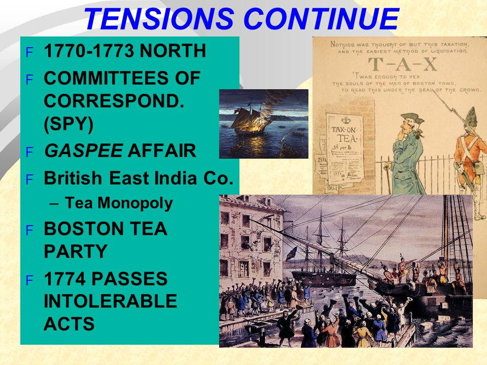 TENSIONS CONTINUE 1770-1773 NORTH COMMITTEES OF CORRESPOND. (SPY)
