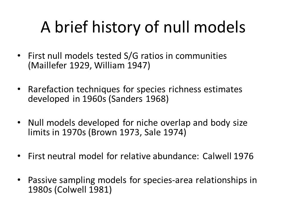 A brief history of null models