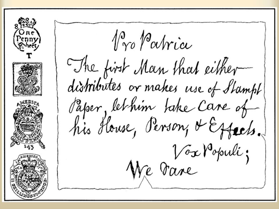 Ch. 5, Image 5 A warning by the Sons of Liberty against using the stamps required by the Stamp Act, which are shown on the left.