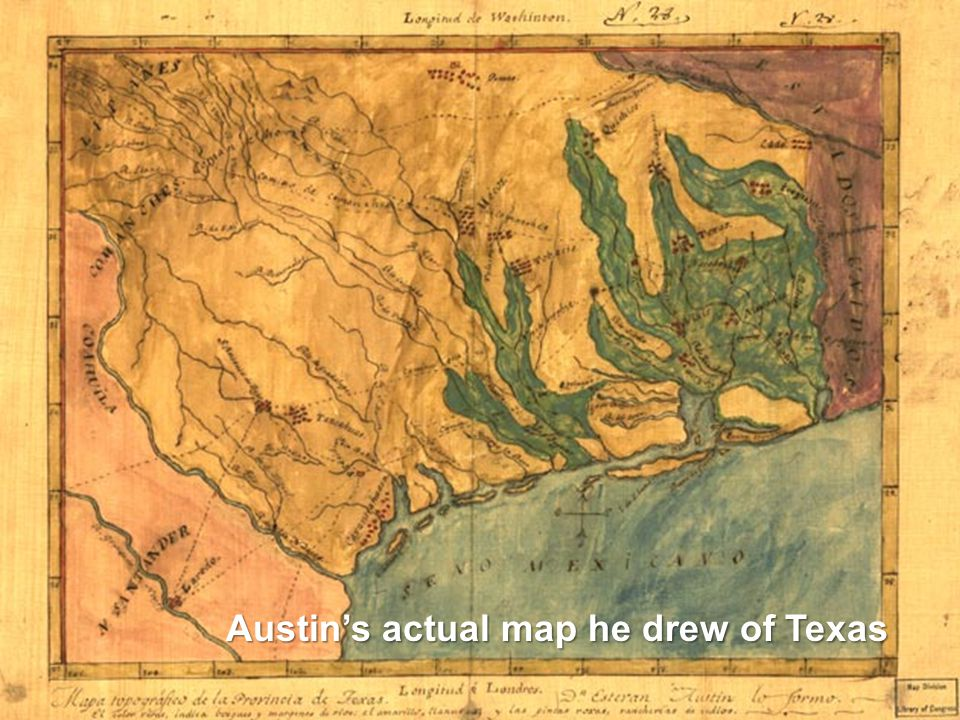 Ut Austin's actual map he drew of Texas