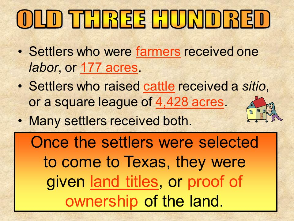 OLD THREE HUNDRED Settlers who were farmers received one labor, or 177 acres.