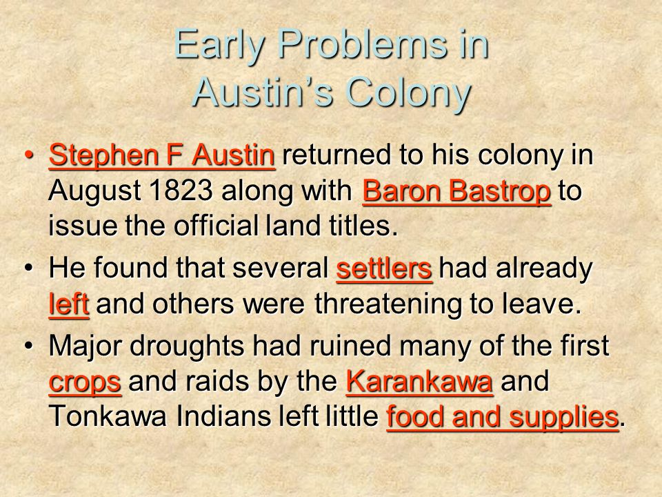 Early Problems in Austin's Colony