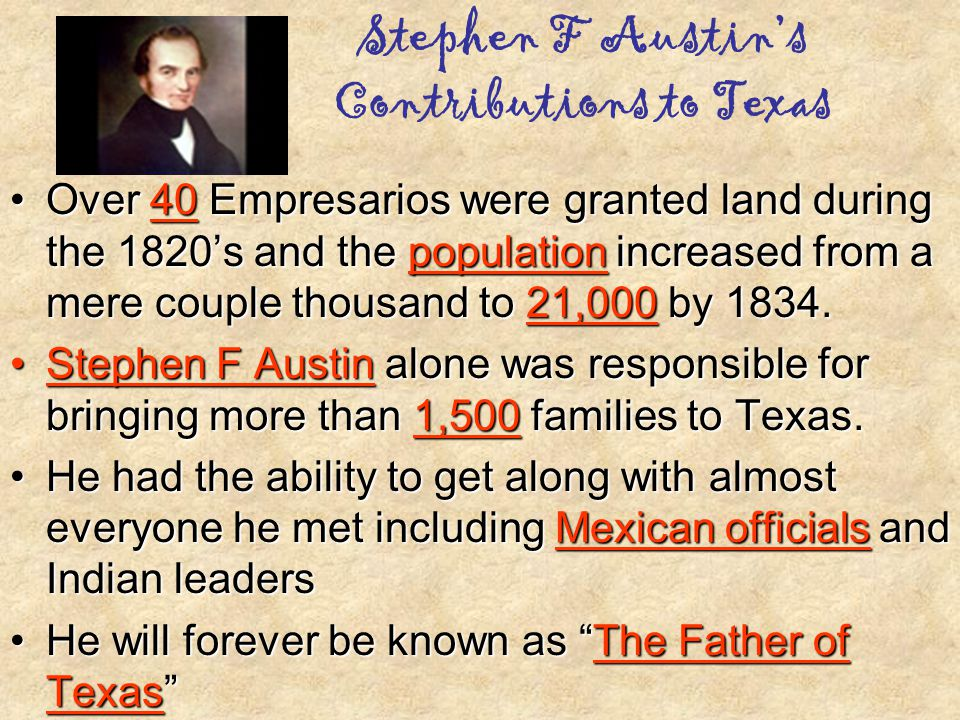 Stephen F Austin's Contributions to Texas