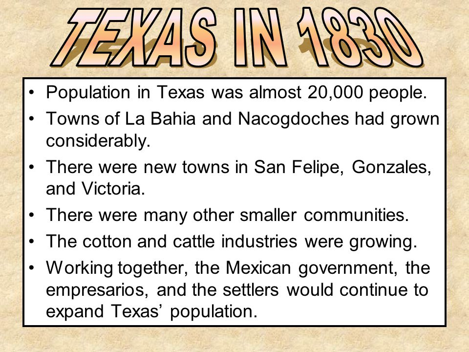 TEXAS IN 1830 Population in Texas was almost 20,000 people.