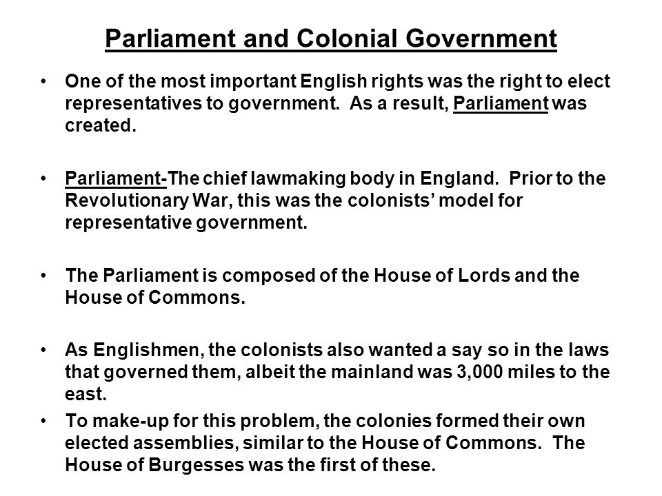 Parliament and Colonial Government