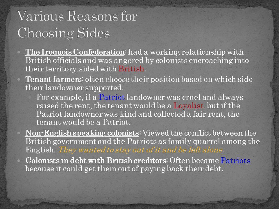 Various Reasons for Choosing Sides