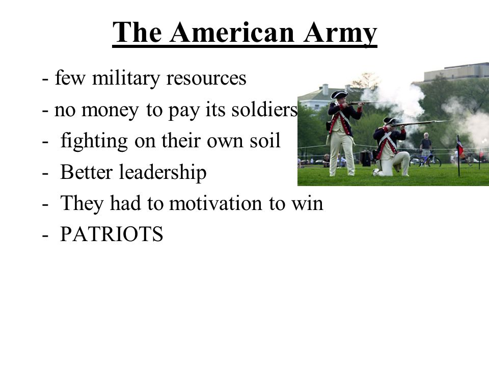 The American Army - few military resources