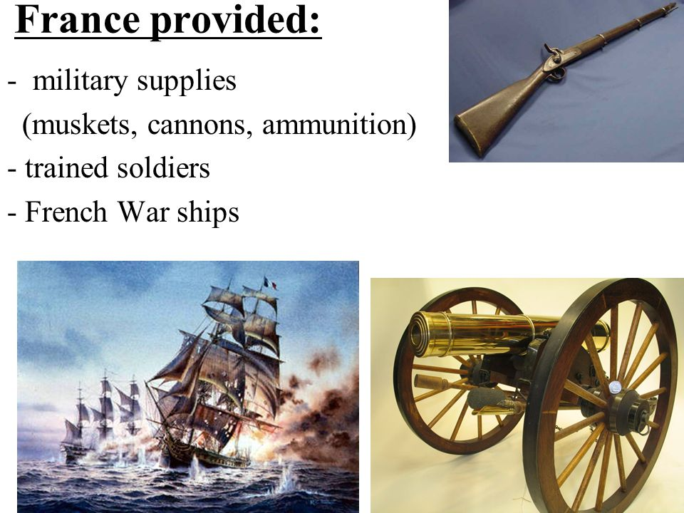 France provided: military supplies (muskets, cannons, ammunition)