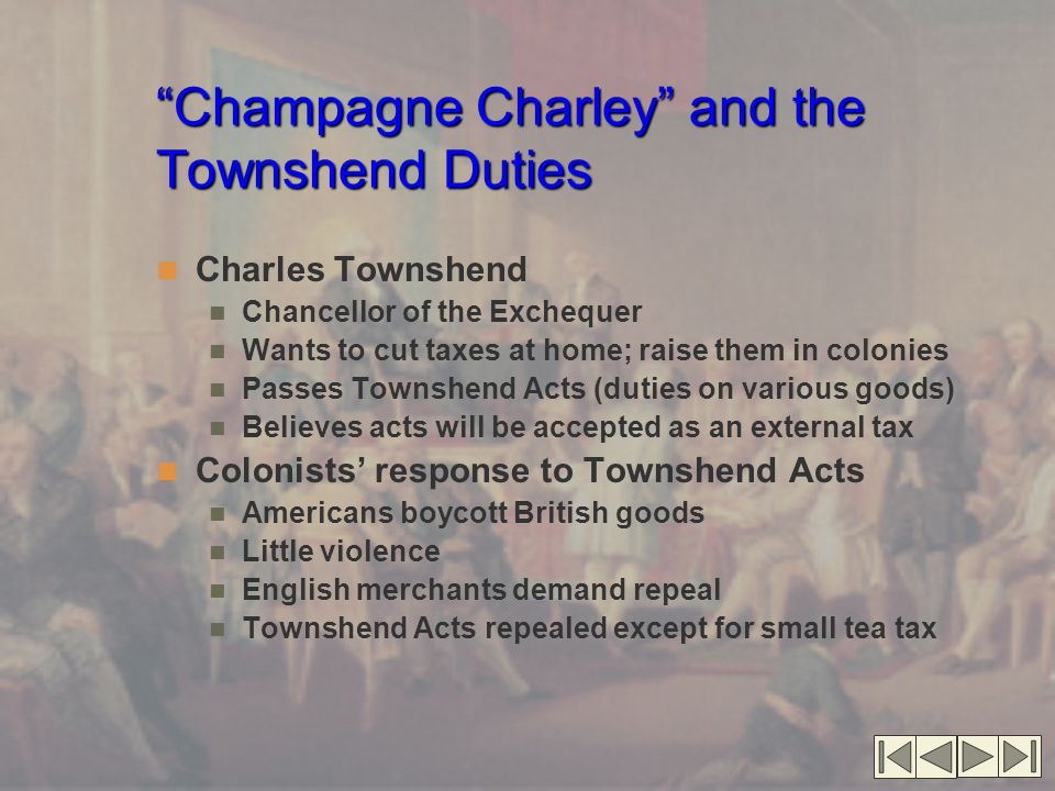 Champagne Charley and the Townshend Duties