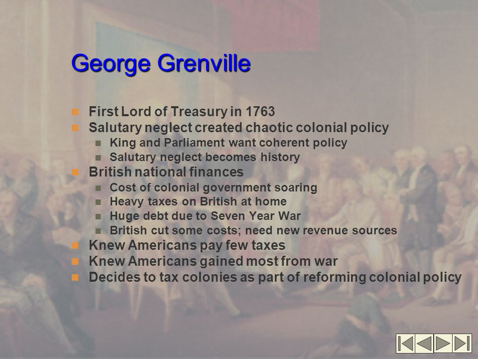George Grenville First Lord of Treasury in 1763