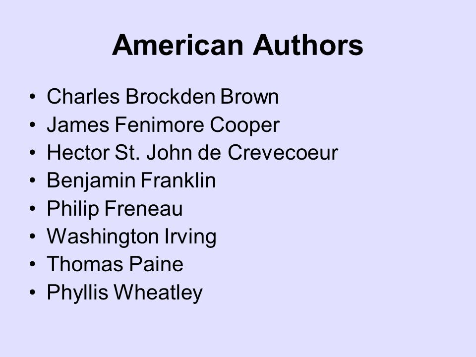 American Authors Charles Brockden Brown James Fenimore Cooper