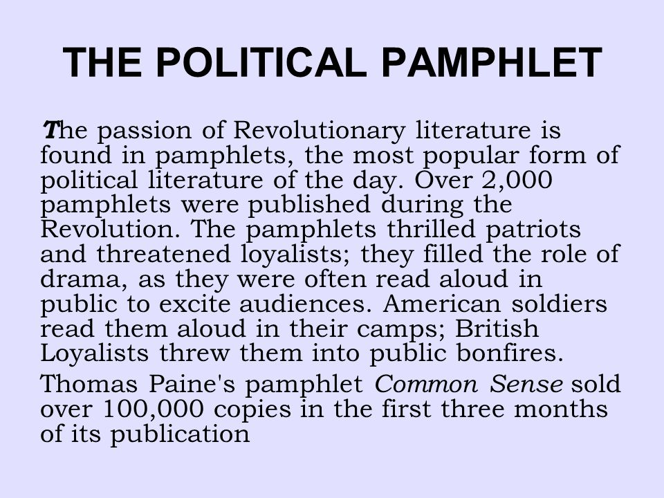 THE POLITICAL PAMPHLET
